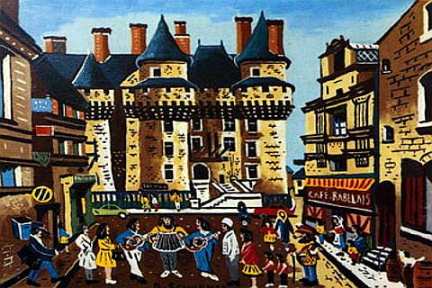 Painting of Chateau Langeais, Loire Valley, France